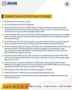 BANTUAN UKT/SPP KEMENDIKBUD BAGI MAHASISWA AKRB TERDAMPAK PANDEMI COVID -19